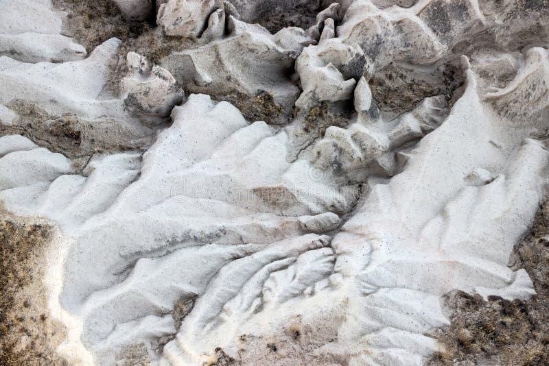 Satellietbeeld van rotsachtig landschap in Cappadocia stock foto's
