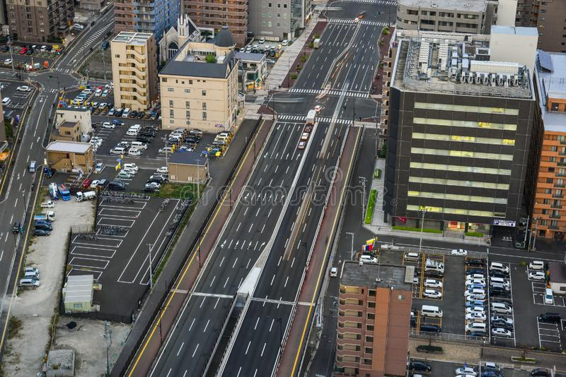 Satellietbeeld van Sendai, Japan stock foto's