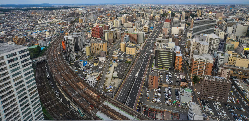 Satellietbeeld van Sendai, Japan royalty-vrije stock afbeelding