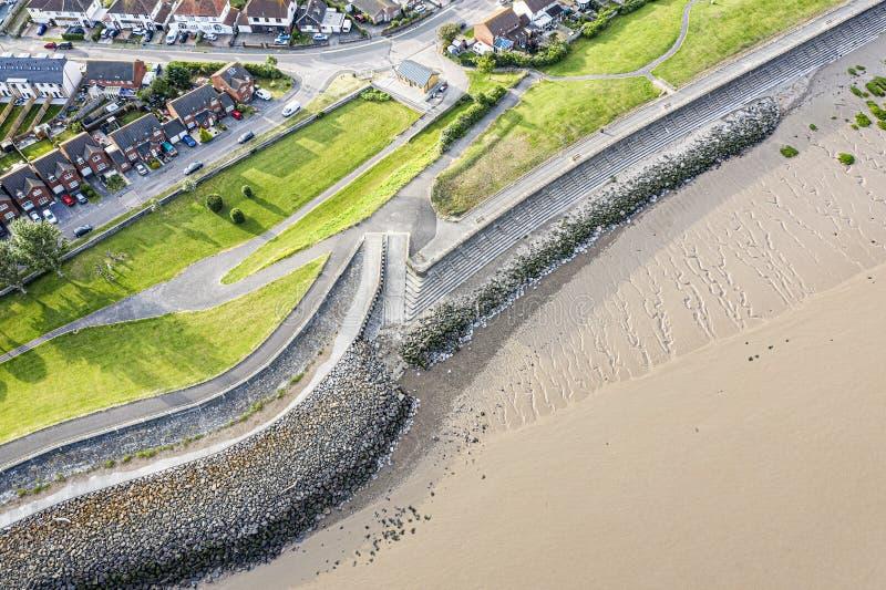 Satellietbeeld van Severn Beach-kustlijn stock foto's
