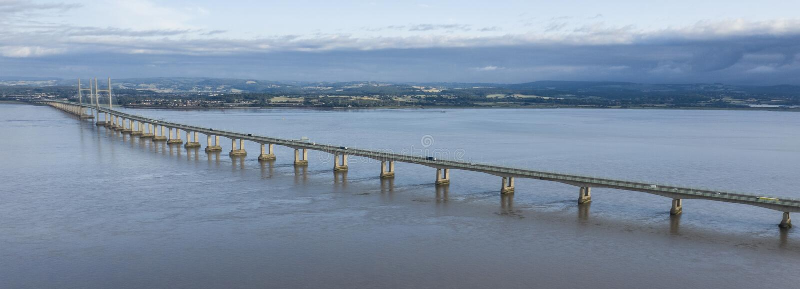 Satellietbeeld van Severn Bridge dichtbij Bristol royalty-vrije stock afbeeldingen
