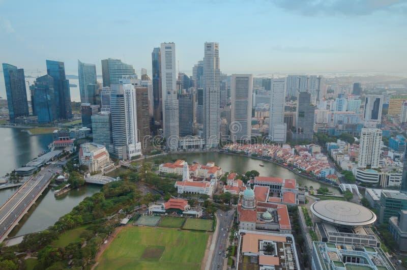 Satellietbeeld van Singapore CBD met bureaugebouwen stock fotografie