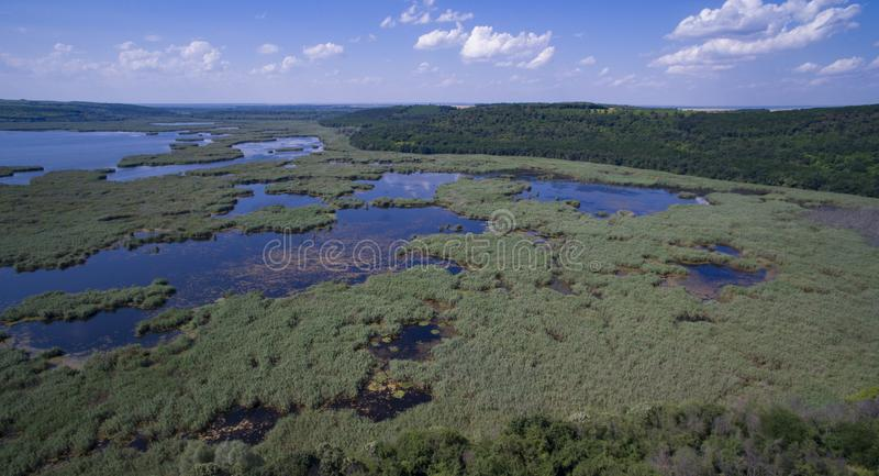Satellietbeeld van Srebarna-meer dichtbij Silistra, Bulgarije royalty-vrije stock fotografie