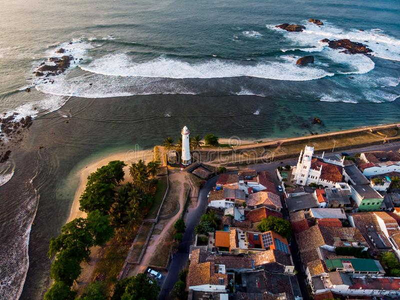 Satellietbeeld van Sri Lanka van het Galle het Nederlandse Fort stock foto