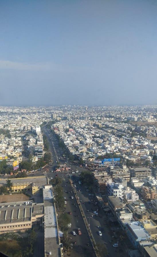 Satellietbeeld van stedelijke stad stock afbeeldingen