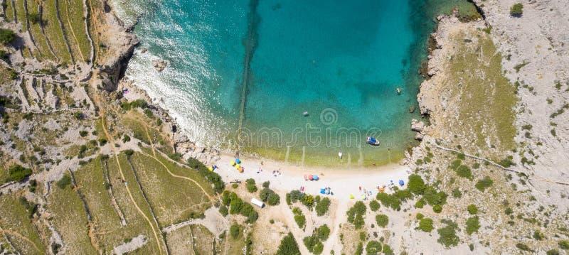 Satellietbeeld van strand in Kroatië stock afbeeldingen
