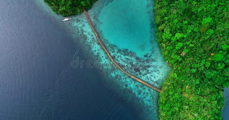Satellietbeeld van Sugba-lagune Mooi landschap met blauwe overzeese lagune en brug, Nationaal Park, Siargao-Eiland, Filippijnen royalty-vrije stock foto's