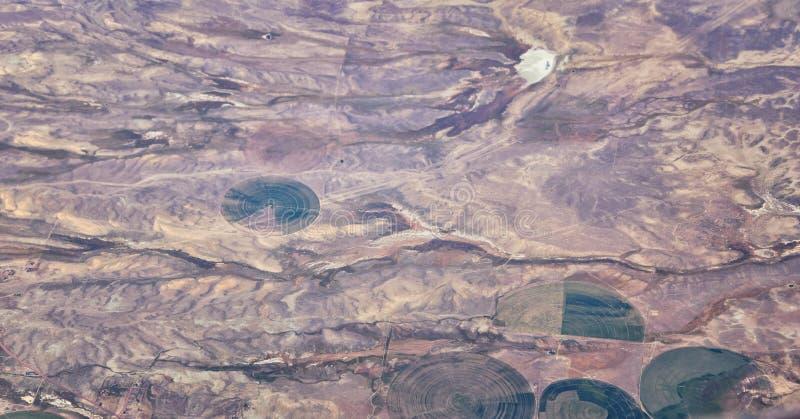 Satellietbeeld van topografische Rocky Mountain-landschappen op vlucht over Colorado en Utah tijdens de herfst Grote vegende meni stock foto's