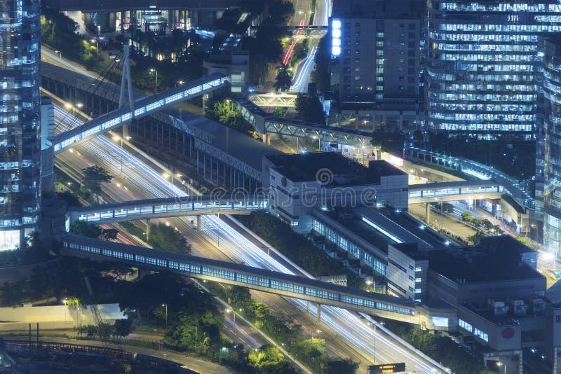 Satellietbeeld van uit het stadscentrum van Hong Kong City stock foto