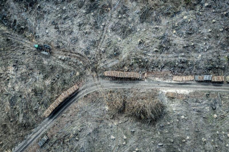 Satellietbeeld van vreselijk ontbossingsbos voor het oogsten royalty-vrije stock afbeeldingen