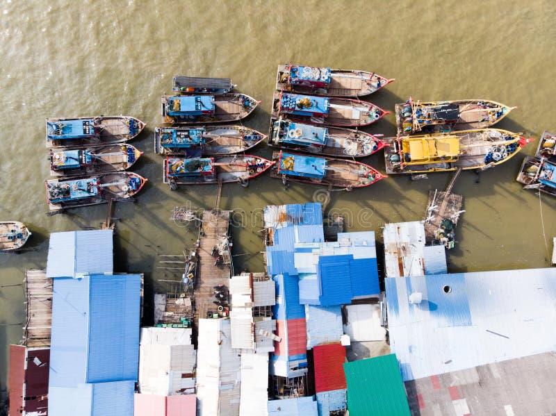 Satellietbeeld in vissersdorp royalty-vrije stock foto