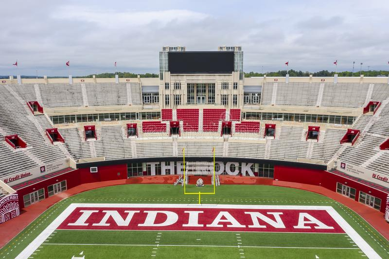 Satellietbeelden van Memorial Stadium op de Campus van Indiana University royalty-vrije stock fotografie