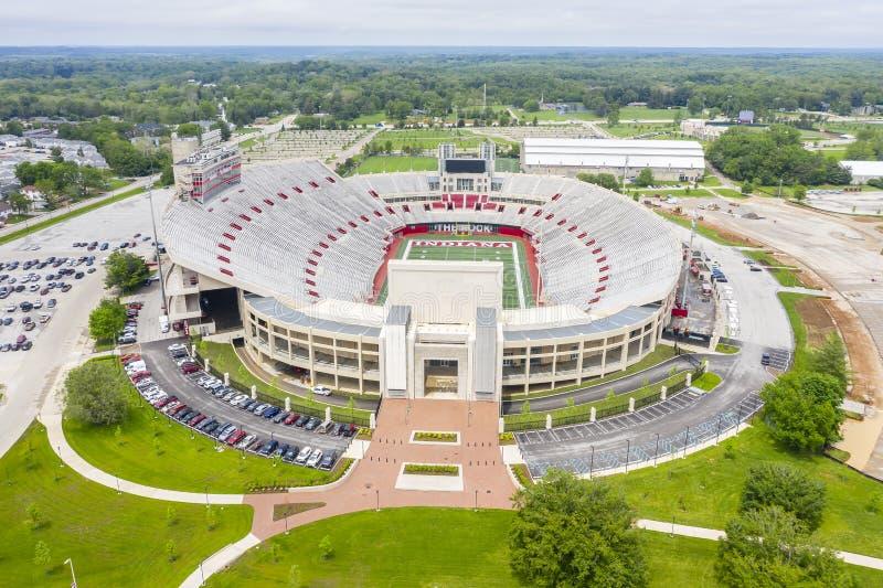 Satellietbeelden van Memorial Stadium op de Campus van Indiana University stock fotografie