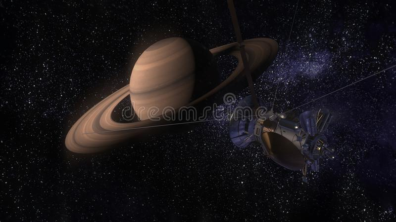 Satellietcassini nadert Saturn Cassini Huygens is een onbemand die ruimtevaartuig naar de planeet Saturn wordt verzonden CG-anima stock illustratie