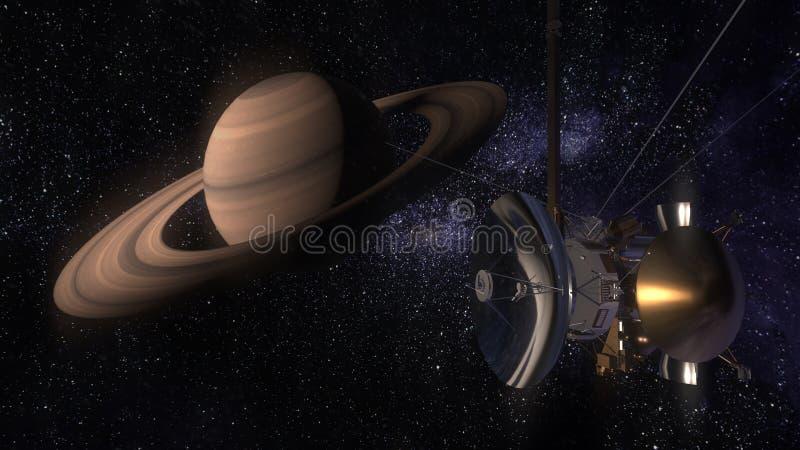 Satellietcassini nadert Saturn Cassini Huygens is een onbemand die ruimtevaartuig naar de planeet Saturn wordt verzonden CG-anima vector illustratie