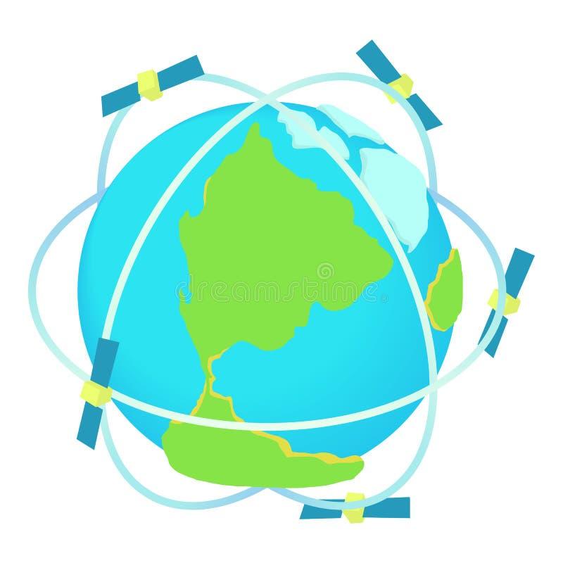 Satellietcommunicatie rond wereldpictogram vector illustratie