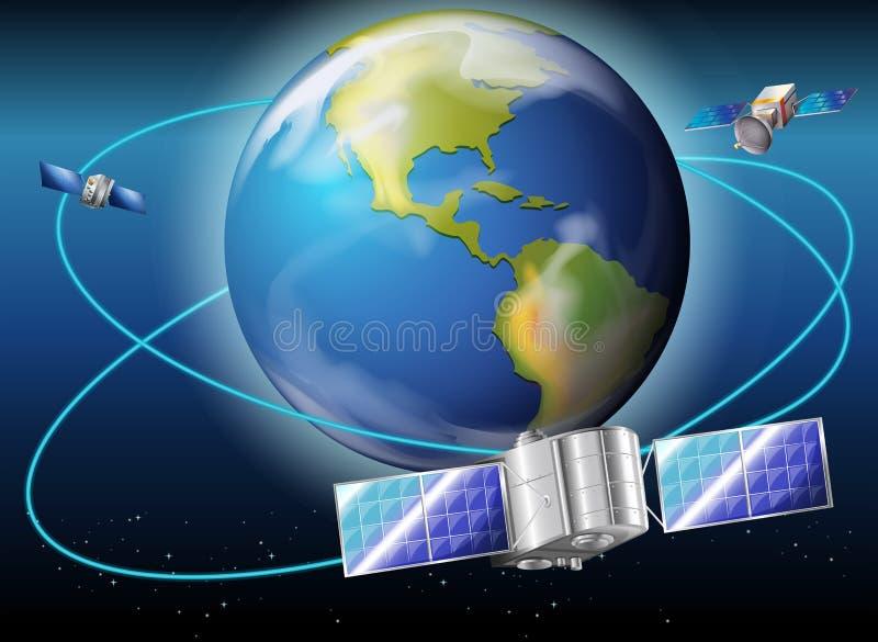 Satellieten die de aarde omringen royalty-vrije illustratie