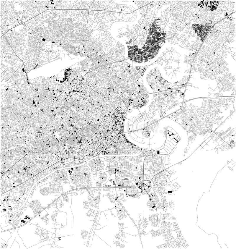 Satellietkaart van Ho Chi Minh, Vietnam, stadsstraten royalty-vrije illustratie