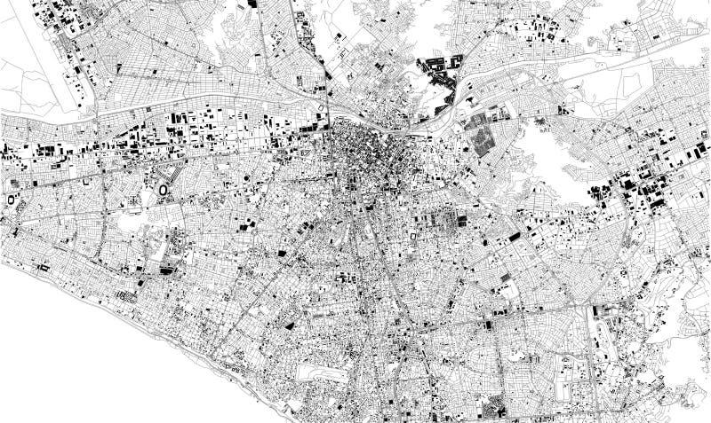Satellietkaart van Lima, Peru, stadsstraten Straatkaart, vector illustratie