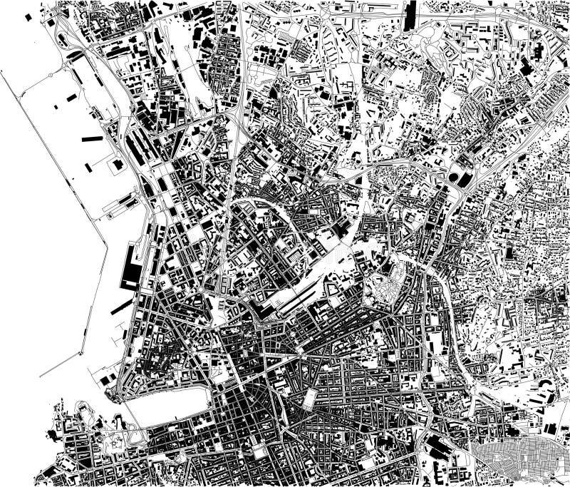 Satellietkaart van Marseille, Frankrijk, stadsstraten vector illustratie