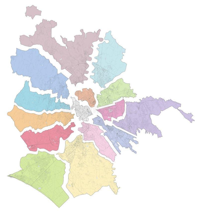 Satellietkaart van Rome, verdeeld in gebieden en gemeenten Streets Italië vector illustratie