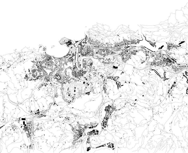 Satellietkaart van San Sebastià ¡ n of Donostia, Spanje Kaart van straten en gebouwen van het stadscentrum stock illustratie