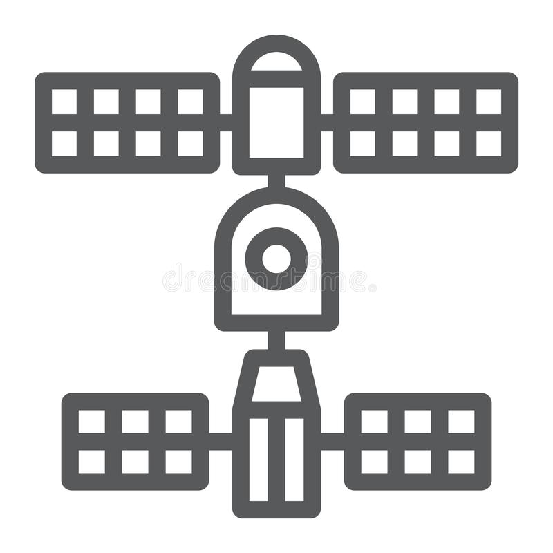 Satellietlijnpictogram, ruimte en wetenschap, verbindingsteken, vectorafbeeldingen, een lineair patroon op een witte achtergrond royalty-vrije illustratie
