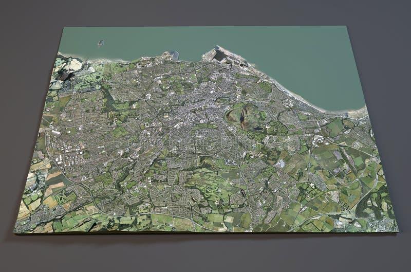 Satellietmening van Edinburgh, Engeland stock illustratie