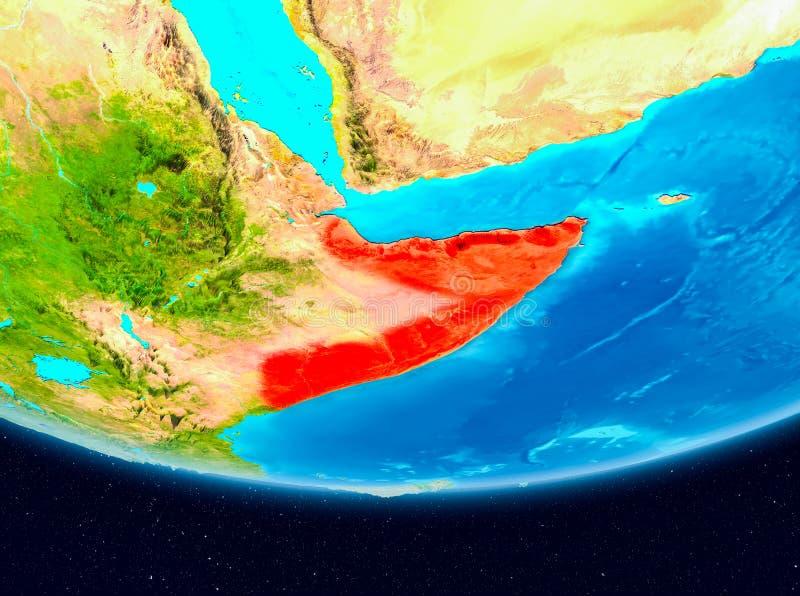 Satellietmening van Somalië in rood vector illustratie