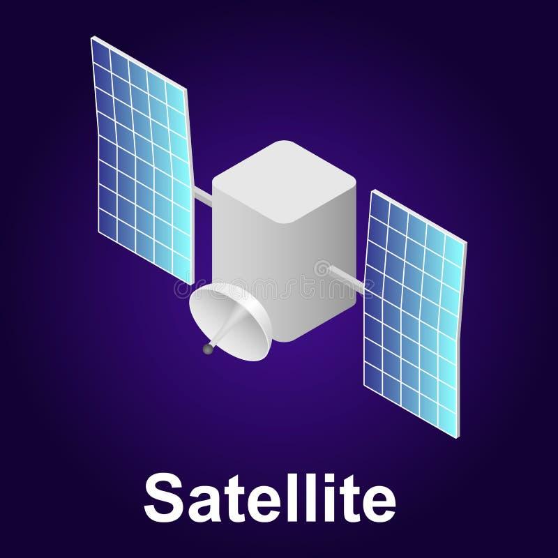 Satellietpictogram, isometrische stijl royalty-vrije illustratie