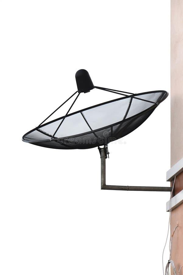 Satellietschotel op wit stock afbeeldingen