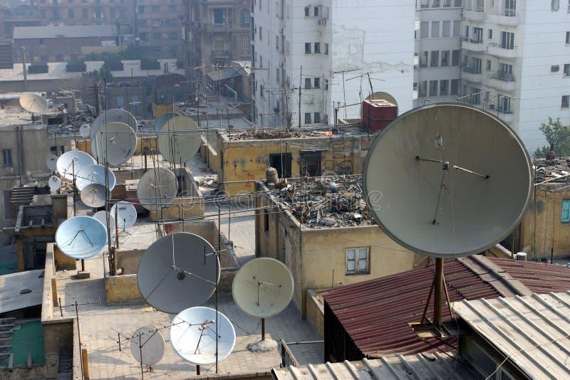 Satellietschotels in Kaïro royalty-vrije stock afbeelding