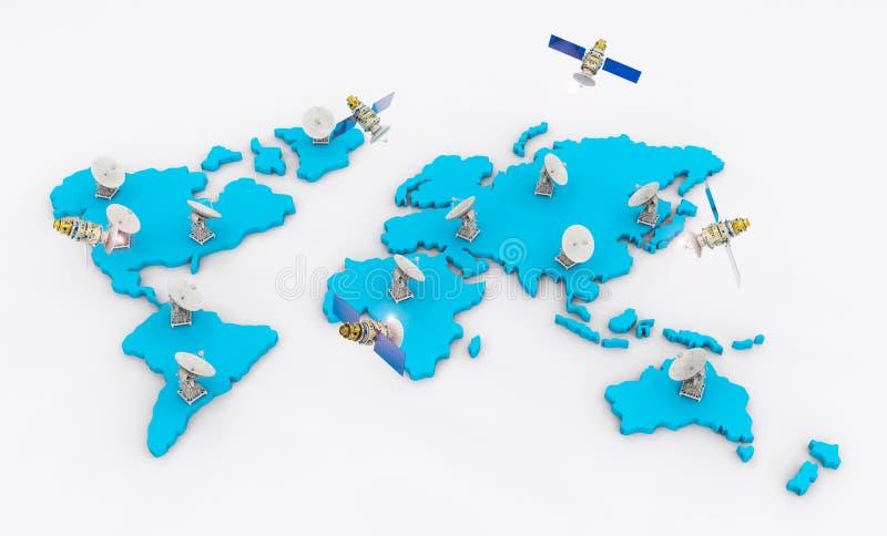 Satellietschotels voor globale mededeling royalty-vrije stock afbeelding