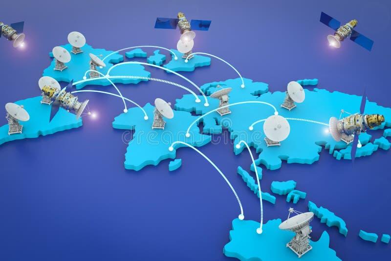 Satellietschotels voor globale mededeling stock illustratie
