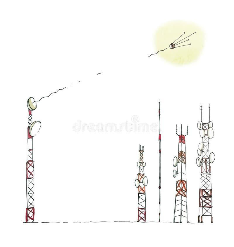 Satellietverbinding De satelliet brengt het signaal aan de cellulaire antennes over Humoristische tekening met waterverf ge?solee vector illustratie