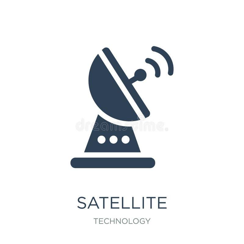 satellietverbindingspictogram in in ontwerpstijl satellietdieverbindingspictogram op witte achtergrond wordt geïsoleerd Satelliet stock illustratie