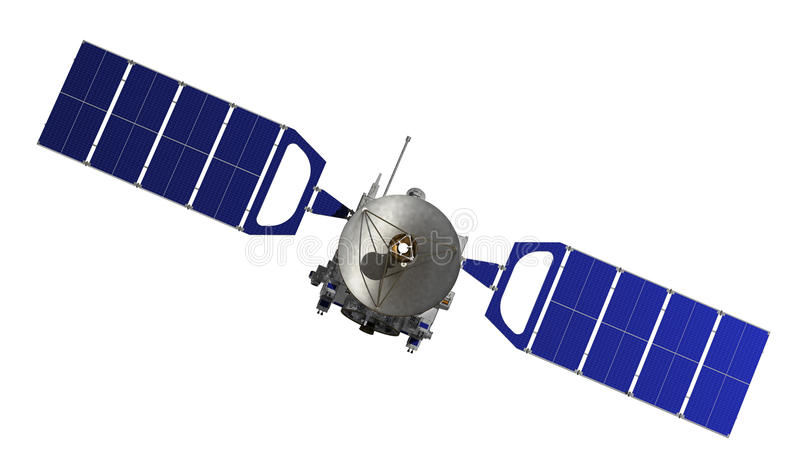 Satellit över vit bakgrund arkivbild