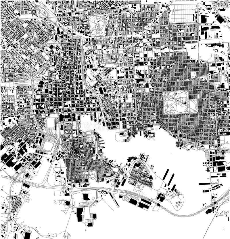 Satellit- översikt av Baltimore, Maryland, stadsgator USA vektor illustrationer