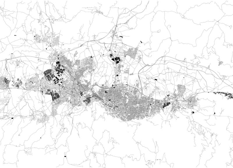 Satellit- ?versikt av Bursa kalkon ?versikt av gator och byggnader av stadmitten askfat royaltyfri illustrationer
