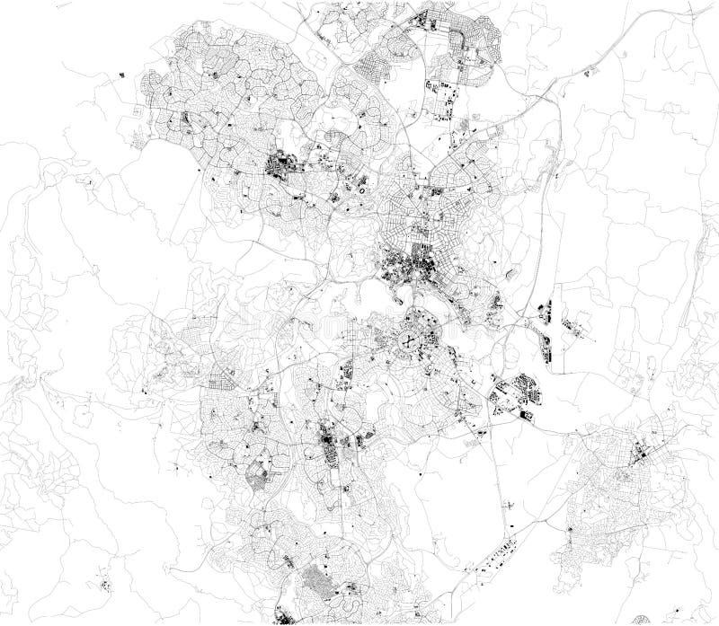Satellit- översikt av Canberra Det är huvudstaden av Australien Översikt av gator och byggnader vektor illustrationer