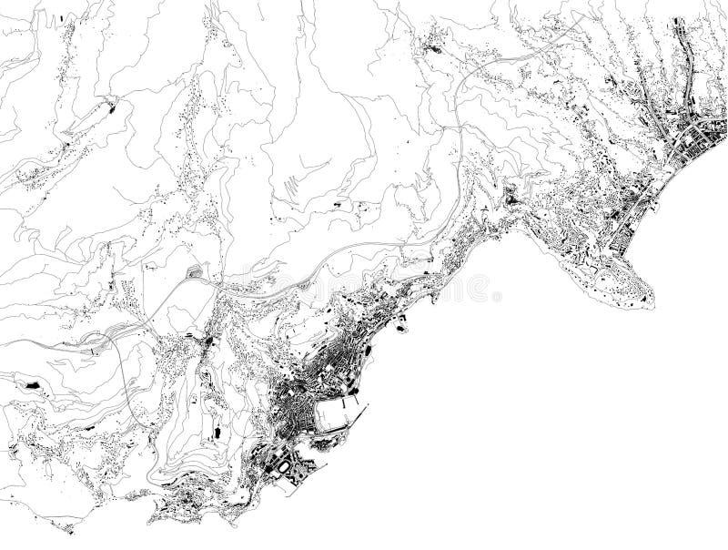 Satellit- översikt av furstendömet av Monaco, Monte - carlo royaltyfri illustrationer