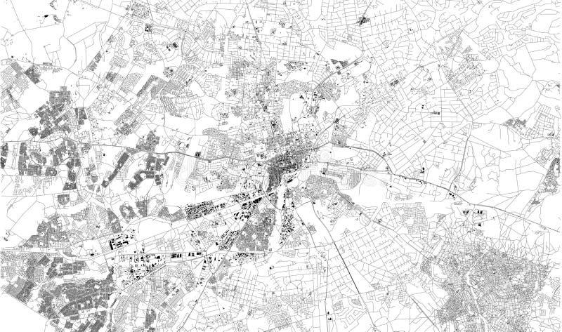 Satellit- ?versikt av Harare, Zimbabwe ?versikt av gator och byggnader av stadmitten royaltyfri illustrationer