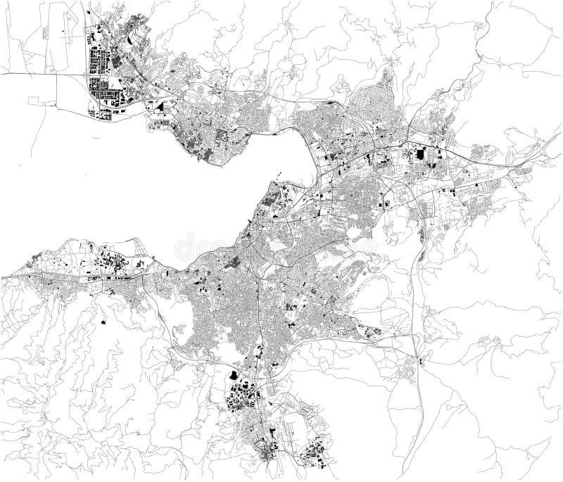Satellit- ?versikt av Izmir kalkon ?versikt av gator och byggnader av stadmitten askfat vektor illustrationer