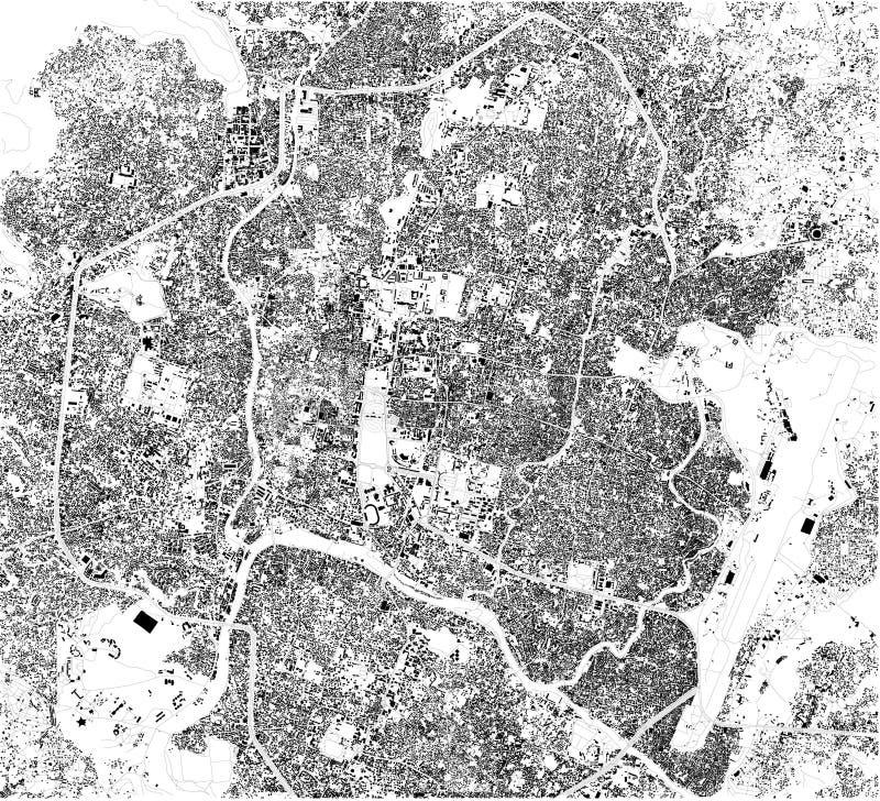 Satellit- översikt av Katmandu Det är huvudstaden och den största staden av Nepal ?versikt av gator och byggnader av stadmitten royaltyfri illustrationer