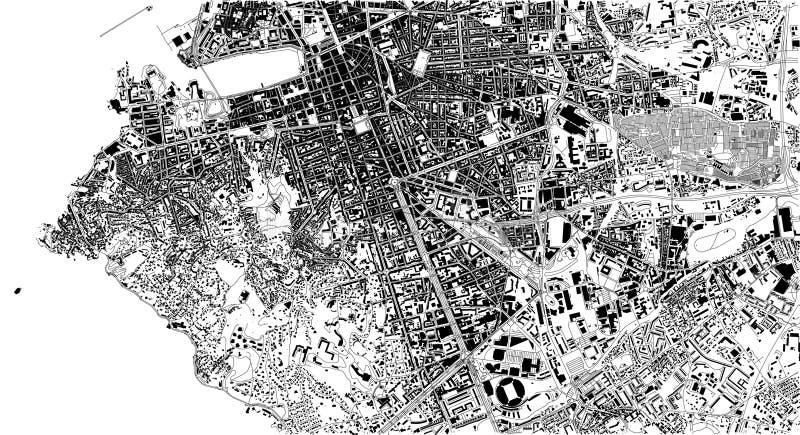 Satellit- översikt av Marseille, Frankrike, stadsgator vektor illustrationer