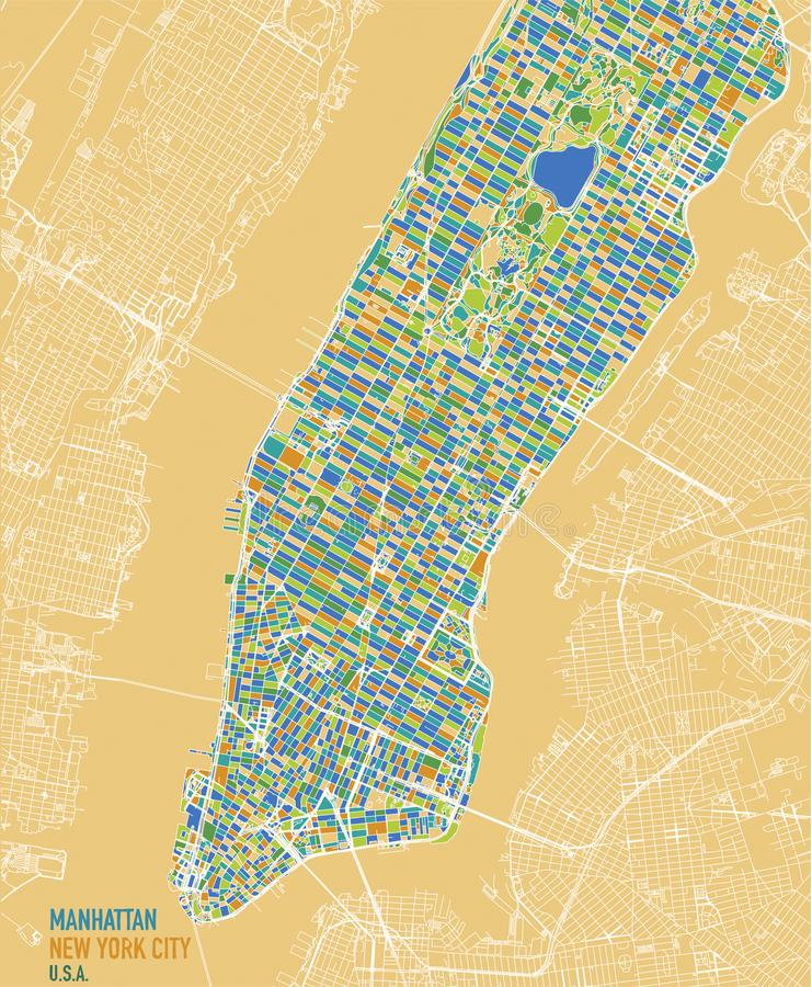 Satellit- översikt av New York City, Manhattan ö Gator och centrum Satellit- sikt royaltyfri illustrationer