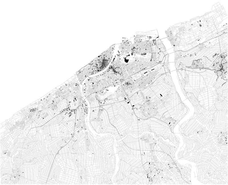 Satellit- ?versikt av Niigata, Japan ?versikt av gator och byggnader av stadmitten stock illustrationer