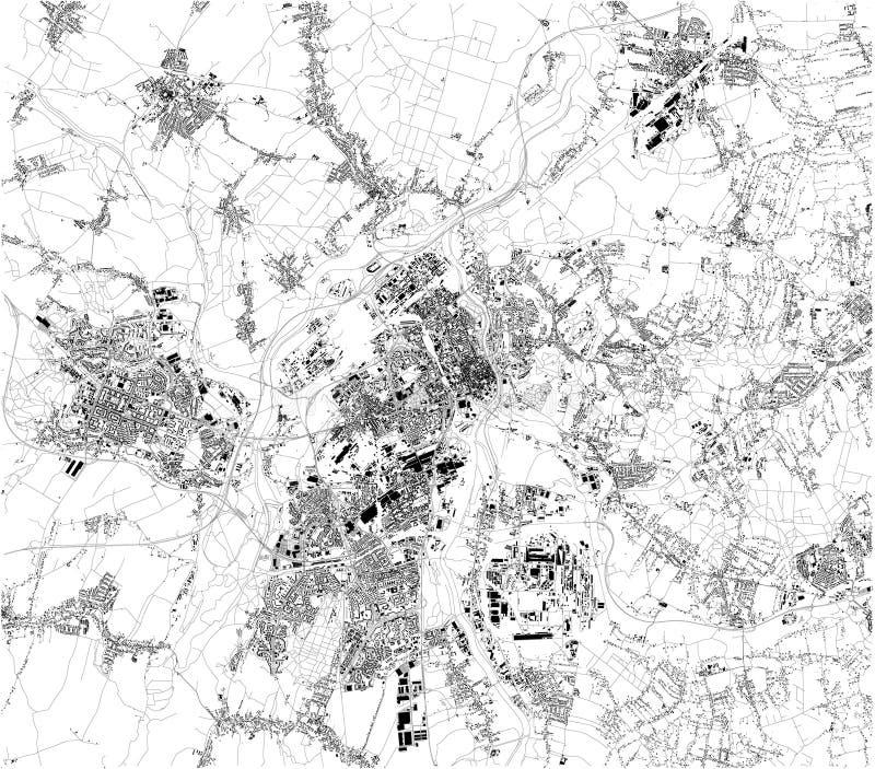 Satellit- översikt av Ostrava Det är en stad i nord-öst av Tjeckien ?versikt av gator och byggnader av stadmitten vektor illustrationer