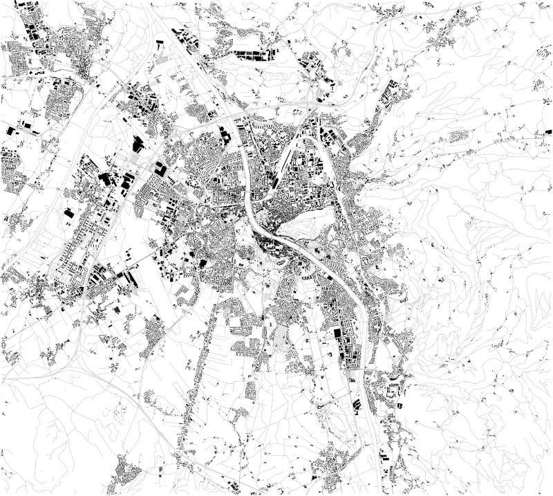 Satellit- översikt av Salzburg, Österrike ?versikt av gator och byggnader av stadmitten stock illustrationer