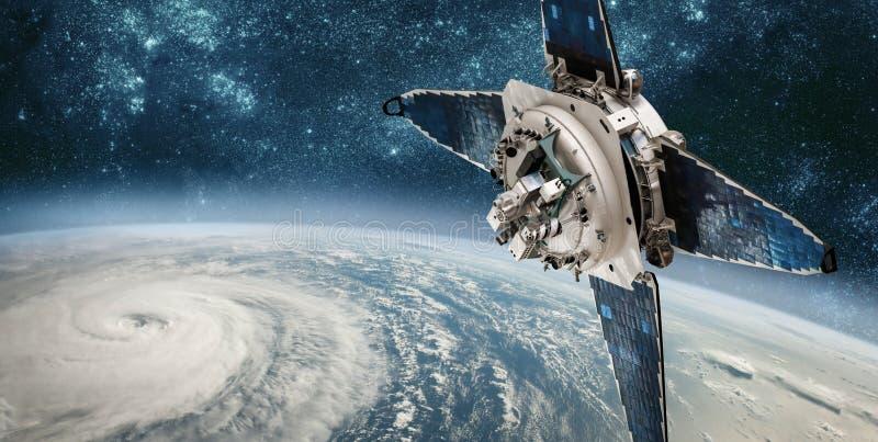 Satellit- övervakning för utrymme från jordens omloppsbanaväder från utrymme, royaltyfria foton